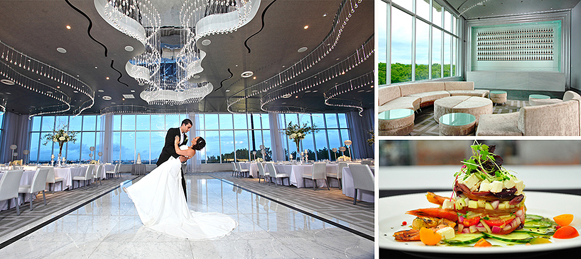 Photo of man and woman dancing, food and lounge